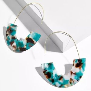 Jewelry - 🆕 Resin Acrylic Threader Drop Wire Earrings TEAL